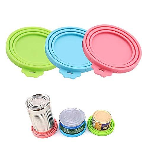 3 Piezas de Tapa de Lata de Comida para Mascotas, Tapas de Silicona para Lata de Comida para Perros, para el Almacenamiento de Alimentos sin Terminar para Mascotas (Rosa, Azul, Verde)
