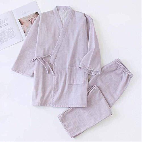 XFLOWR Paar eenkleurige pyjamaset mannen en vrouwen nachtkleding Japanse robe + broek volledige katoenen liefhebbers los dunne Homewear voor de herfst