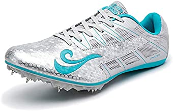 BETOOSEN Track Spike Running Sprint Shoes Track and Field Shoes Mesh Breathable Lightweight Professional Athletic Shoes (Boys, Girls,Womens, Mens) (8.5 M US Women/7.5 M US Men, Silver)