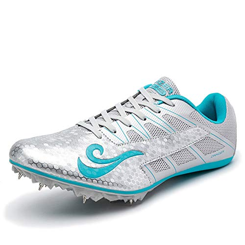 BETOOSEN Track Spike Running Sprint Shoes Track and Field Shoes Mesh Breathable Lightweight Professional Athletic Shoes Boys GirlsWomens Mens 8 M US Women/65 M US Men Silver