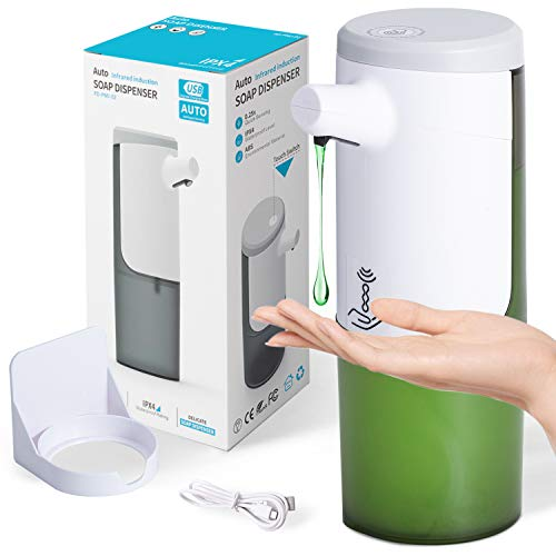 Automatic Soap Dispenser, Touchless Hand Sanitizer Dispenser USB Rechargeable, IPX4 Waterproof Hands Free Soap Dispenser for Kitchen Bathroom, Countertop Wall Mounted, 15oz/ 450ml Large Capacity