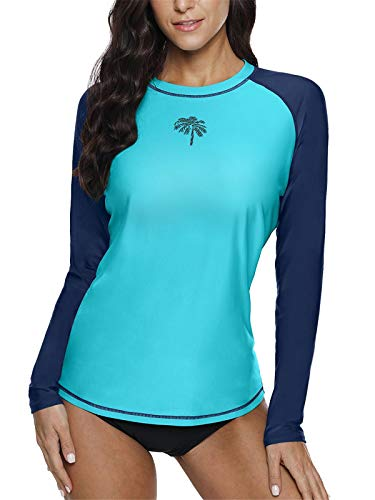 BesserBay Damen Schwimm Shirt Raglan UV Shirts Wasser Rash Guard UV Schutzkleidung Blue XL