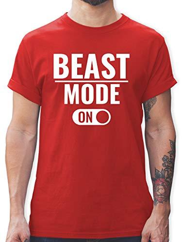 Fitness & Workout - Beast Mode ON - M - Rot - Fitness Spruch Shirt männer - L190 - Tshirt Herren und Männer T-Shirts
