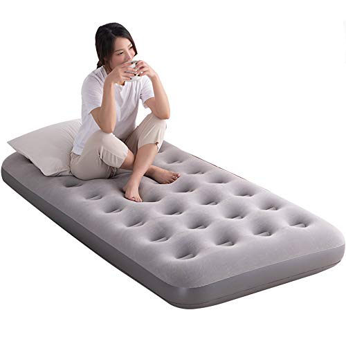 LHn-Cn Airbeds Flocked Quick Inflation Outdoor Camping Mattress Includes Electric Pump, Storage Bag Included Gray 190 * 130 * 22cm