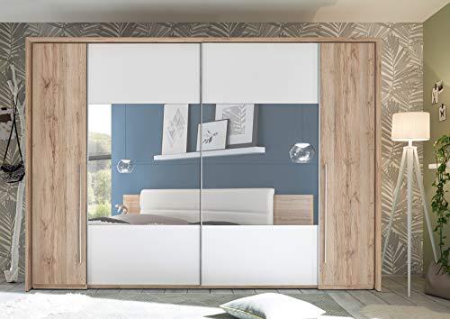 DEINE TANTE EMMA MEGA Eleganter Kleiderschrank mit viel Stauraum - Vielseitiger Schwebetürenschrank in Eiche San Remo Optik, Weiß mit Spiegel - 315 x 226 x 60 cm (B/H/T)