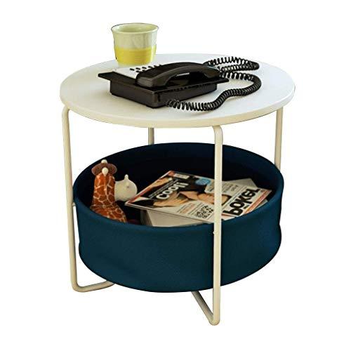 WSHFHDLC Mesa de Centro Mesas Laterales portátil Bandeja Redonda de Doble Capa móvil más pequeño de la Mesa de Centro Notebook Desk Sofá/Dormitorio con Almacenamiento Volver Tablas de café pequeñas