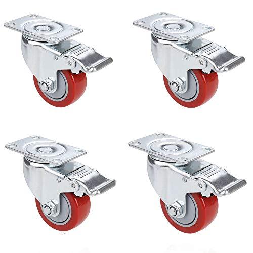 Voluker Set de 4 Ruedas Giratorias con Freno,75mm Ruedas para muebles,Ruedas Pivotantes, Carga de 400 KG,Rojo