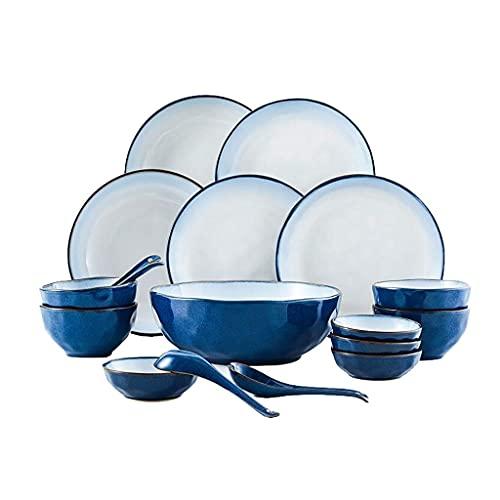 FAQUAN Vajilla, Juego de vajilla Minimalista nórdica, Juego de vajilla de cerámica China para el hogar, un Juego de 18 Piezas Adecuado para Cuatro Personas