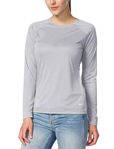 BALEAF - Camiseta de manga larga para mujer con factor de protección solar UPF 50+, de secado rápido, ligera, para senderismo, correr, pesca - gris - Large