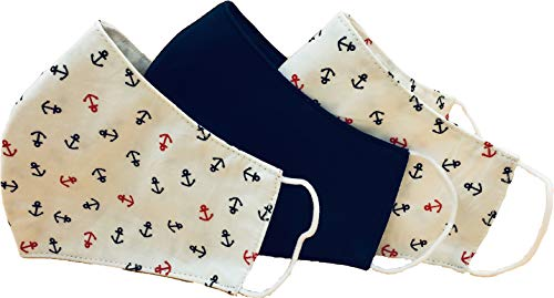 Pezzo D'oro 3-er Set Fashion Masken, maritim mit Anker rot marine und marine uni, wiederverwendbar, Baumwolle, waschbar, unisex
