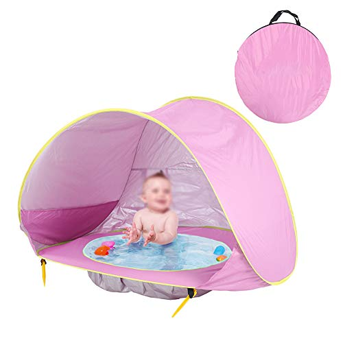 ZHONGXIN Beach Baby Tent, Baby Outdoor Tent 1-2 Person, Portable Automatic Instant Sun Shelter Canopy Outdoor Sport Umbrella, for Kids Playing Sun Shade Tent, Indoor and Outdoor Use (light pink)
