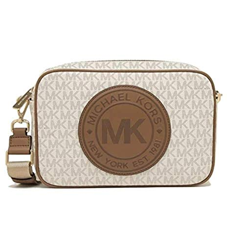 """MK signature coated twill PVC with leather trim and gold-tone hardware. Zip-top closure. Oversized leather logo at front. Adjustable/detachable strap for shoulder/crossbody wear, 23-25""""drop. Interior: Logo Lining; one open padded pocket and one multi..."""