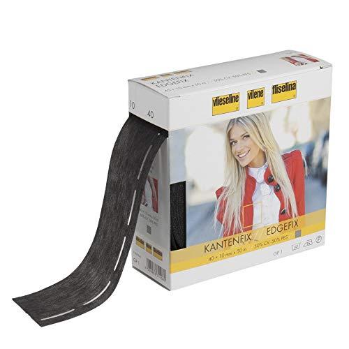 Plush Addict Vlieseline / Vilene Edgefix zum Aufbügeln, 5 cm breit, Meterware, Schwarz