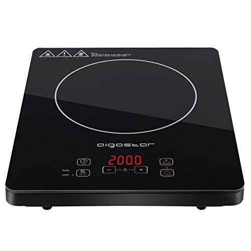 Aigostar Induktionskochfeld/2000Watt/Sensor-Touch-Steuerung und Sicherheitsschloss/10 Leistungsstufen/Schwarz