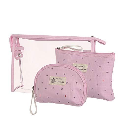 Beito 3PCS / SET Bolsa de maquillaje de PVC Bolsa de cosméticos a prueba de agua Bolsa de aseo portátil Práctico organizador de viaje Bolsa transparente para mujeres niñas (rosa claro)