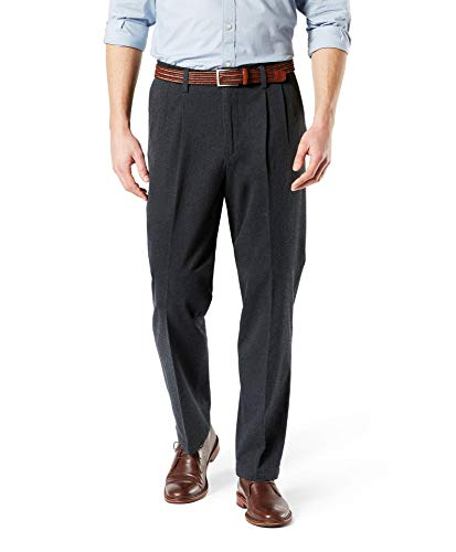 Dockers Men's Classic Fit Signature Khaki Lux Cotton Stretch Pants-Pleated, charcoal heather, 32W x 32L
