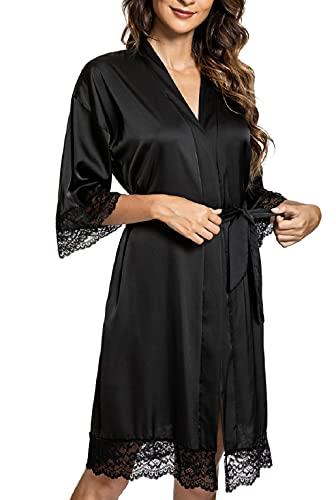CMTOP Sexy Satén para Mujer Camisón Mujer Seda Camisones Dormir Verano,Albornoz para Mujer, túnica con cinturón,Batas Mujer Encaje Conjuntos (Negro, M)