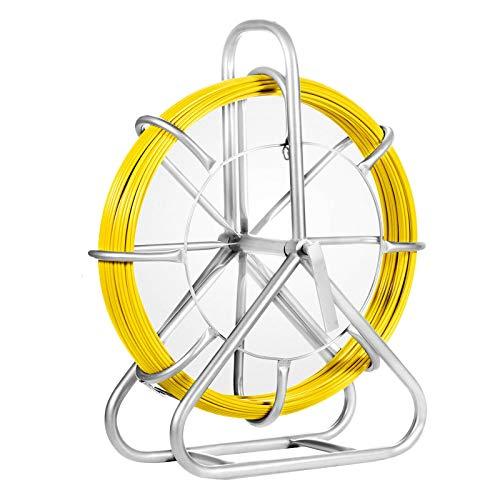 VEVOR 130m Kabel Rodder Fiberglas ziehen 4,5T Spitze Draht Kabel 6MM Biegung Radius Fiberglas Drahtseil mit Käfig und Ständer Fischband 150g/m