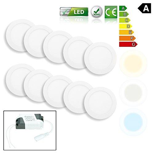 ECD Germany 10er Pack LED Panel Einbaustrahler 9W ersetzt 50W Halogen - Flach Ultraslim - Rund Ø14.5cm - Warmweiß 3000K - IP44 - Flur Bad Küche - Deckenstrahler Deckenleuchte Einbauleuchten Spot Lampe