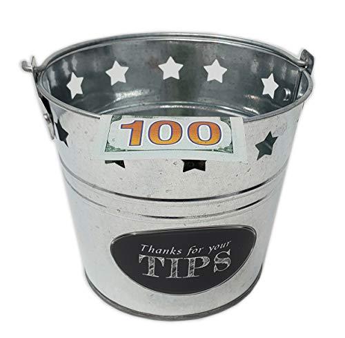 "Tip Bucket Metal w/stars design for Bar, Club, Musicians, bands, street performers   bartenders money Tip Jar 6 "" Diameter x 5.5"" Hight"