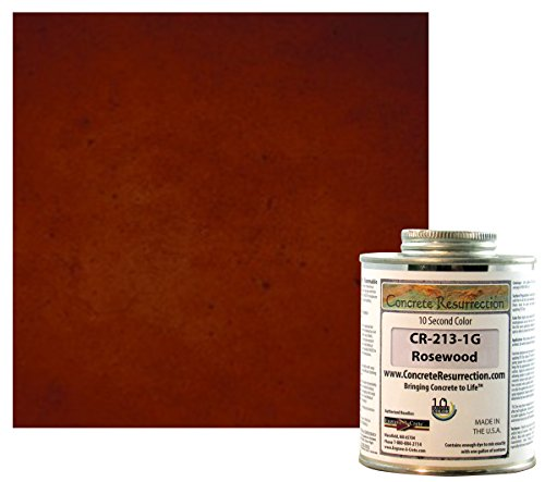 Ten Second Color (TSC) Concrete Dye Concentrate Makes 1 Gallon Professional Grade and Easy to use. Brilliant Bold Colors. Semi-Transparent Cement Dye. Dries in Seconds (Rosewood)