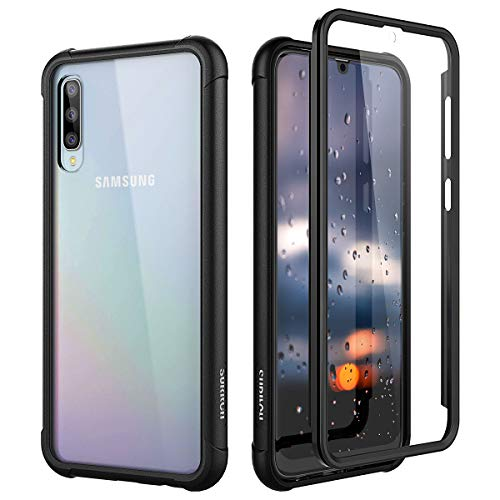 SURITCH Coque Samsung Galaxy A50 360 Degré Transparente Antichoc Silicone Bumper [Ultra Hybrid] Integrale Anti-Rayures Full Body Protection Etui Housse - Noir