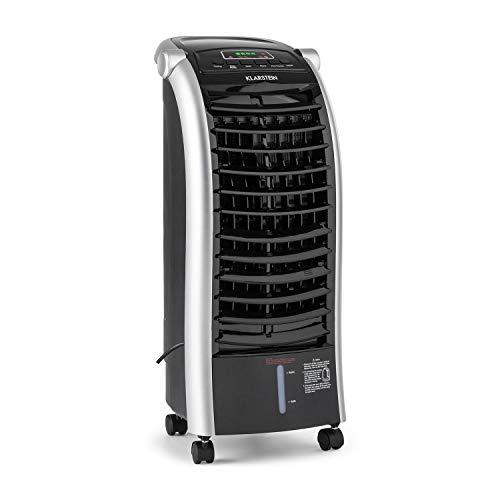 Klarstein Maxfresh BK luchtkoeler, ventilator, luchtbevochtiger, 3 vermogensniveaus, 65W, 6 L watertank, 3 modi: normaal, nacht, natuur, draaifunctie, timer, energiebesparing, zwarte afstandsbediening
