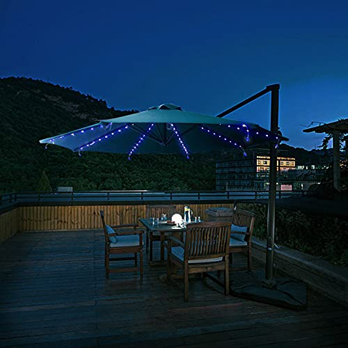 GFQTTY Luces De Sombrilla De Patio con Energía Solar, Luz De Sombrilla Solar Automática Impermeable IP67, Lámpara De Cuerda De Hadas para Sombrilla De Jardín De 8 Modos