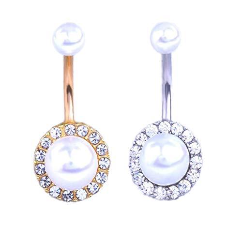 Aralinda Piercing para el ombligo con perla y botón de oro para el ombligo, pendientes de joyería de cristal de plata, piercing para el ombligo, joyería para el cuerpo humano para mujer,