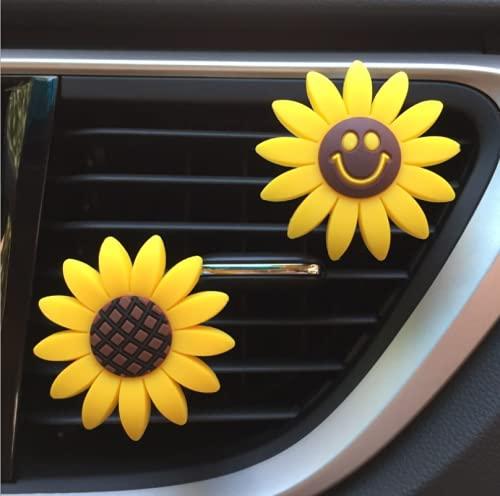 2 clips de ventilación para difusor de coche, goma de girasol, cara sonriente, difusor de aceite esencial, ambientador para decoración de salpicadero de auto