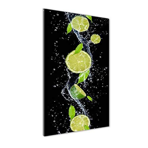 Tulup Impresión en Vidrio - 50x100cm - Cuadro sobre Vidrio - Pinturas en Vidrio - Cuadro en Vidrio - Impresiones sobre Vidrio - Cuadro de Cristal - Comidas Y Bebidas - Verde - Limas