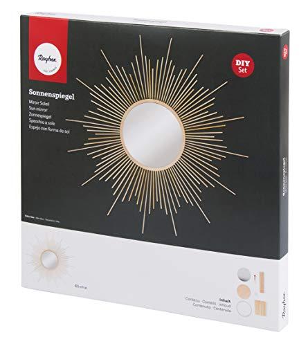 Rayher 62917000 Bastelset Sonnenspiegel mit Holzstrahlen, groß, Gesamtdurchmesser 63 cm, Spiegel 20 cm Ø, Wandspiegel, Dekospiegel