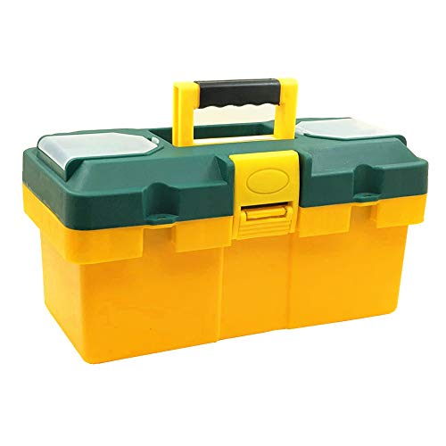 Comsnows 14quot Tool Box with Removable Tool TrayOrganizer and Storage For Tools Fishing Tackle Toys Art Craft and Parts