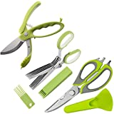 Kitchen Shears Set - Multifunction Kitchen Scissors 3-Piece Set | Toss and Chop Salad Tongs | Stainless Steel 5 Blades Herb Shears | Heavy Duty Food Shears Great for Meat, Poultry, Vegetable, Herb