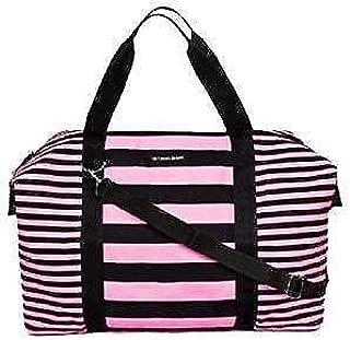 Large Weekender Duffel Bag Black and Pink Striped