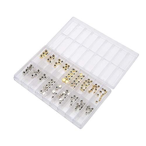 Horlogeonderdelen set, horlogeaccessoires epoxy-koppen in doos kroon tafel reparatieonderdelen koper goud zilver koepel platte kop-horlogereparatiegereedschap