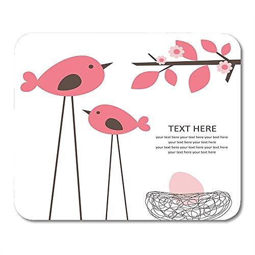 Mausepad Vintage Pink Bird Cute Baby Girl Dusche Braun Nest Blume Maus Matte Mousepad Mousepad Office Rutschfestes Spiel Gedruckte Arbeit Bunte Sonderschule 25 X 30Cm