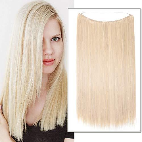 Haarteile Extensions Synthetische Haarverlängerung wie Echthaar keine Clips Gewellt Günstig Haarverdickung 20