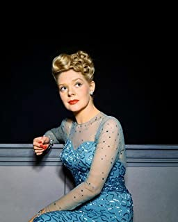 Alice Faye Striking Pose in Elegant Blue Gown Rich Color 1940's 11x14 Promotional Photograph