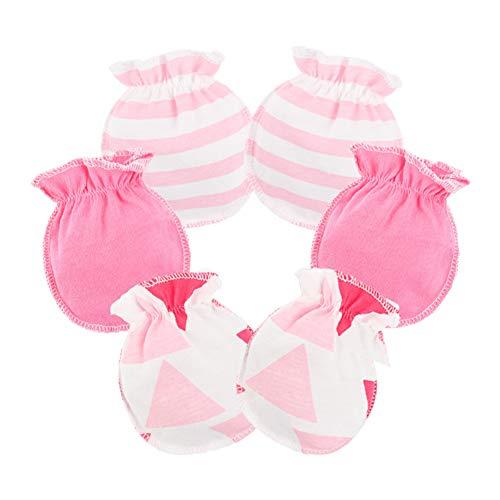 Da.Wa 3 Paar Baby Anti Kratzhandschuhe Infant Baby Soft Baumwolle Handschuhe Hellrosa