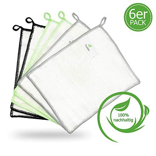 teroboo - 6er Set - Bambus Reinigungstücher, Bambus Allzwecktücher, Bambus Küchentücher, Bambus Spültuch, Bambus Putztücher, Putzlappen Bambus, Bambustücher waschbar, umweltfreundlich, nachhaltig