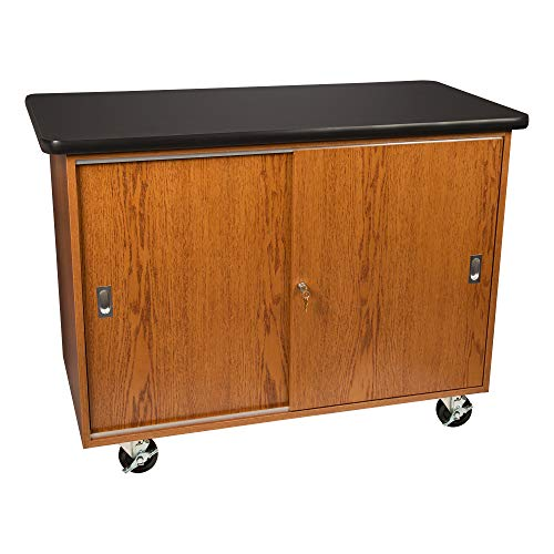 """Learniture Mobile Lab Storage Cart / Cabinet with Chemical Resistant Top, Honey Oak, 48"""" L x 24"""