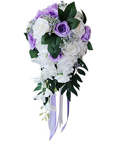 Ansofi Wedding Bridal Bouquet, Wedding Bride Bouquet, Wedding Holding Bouquet with Artificial Roses Lace Long Ribbon, Perfect for Wedding, Church