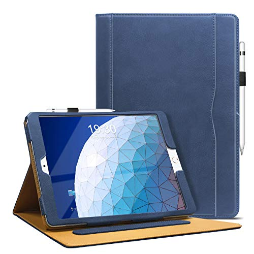 DAORANGE Case for iPad Air 3 10.5'' 2019, PU-Leather Stand Folio Cover for iPad Air 3 Generation 10.5 Inch 2019 Version, with Multiple Viewing Angles, Document Card Pocket and Pencil Holder (Navy)