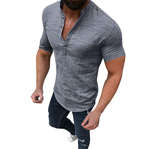 Xinantime Mens Casual Solid Blouse Cotton Linen T-Shirt Loose Tops Short Sleeve Tee Shirt (Gray,XL)