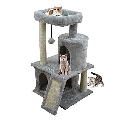 MC Star Katzenbaum Kratzbaum Stabiler Kletterbaum Spielhaus für Katzen mit Sisal-Kratzstangen Katzenhöhlen Aussichtsplattformen (Grau, 50 * 50 * 85cm)