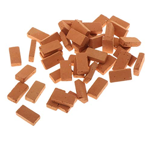 50 Stück 1/16 Ziegelsteine Ziegel Steine Dachziegel Backsteine
