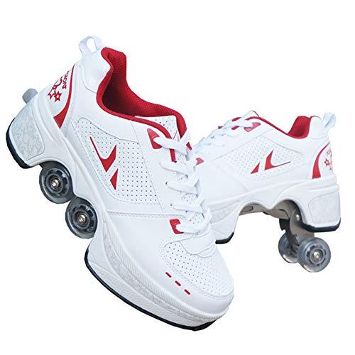 Mowday 4-Rad Verstellbare Rollschuhe, Roller Skates, Rollerskates Rollschuhe Artistic - Outdoor-Sport Rollschuhe Faul Reisemodus,White+red,35