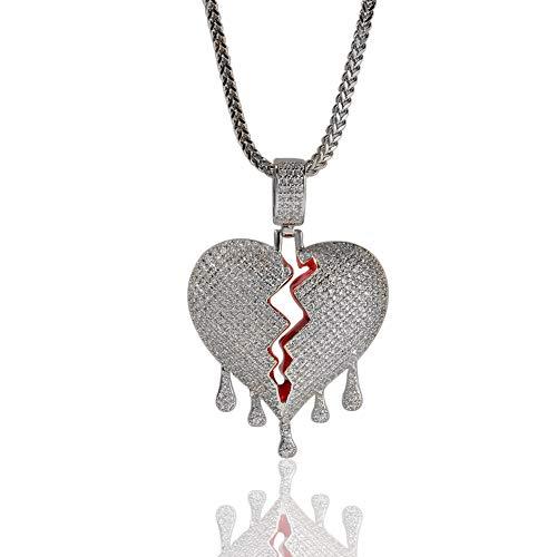 N·XHXL Halskette Für Männer, Frauen, Voll Bling Blase Gebrochenes Herz Anhänger Halskette, Vergoldet AAA-Zirkon, 18