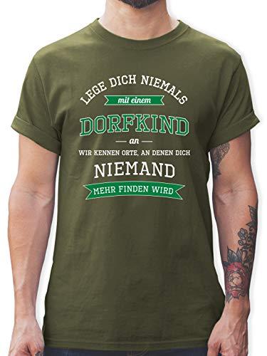Sprüche - Lege Dich Niemals mit einem Dorfkind an - M - Army Grün - t Shirts witzige sprüche - L190 - Tshirt Herren und Männer T-Shirts